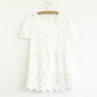 New 2014 Summer Fashion Casual Wavy Hem Embroidered Daisies Tops For Women T-Shirts Free Shipping 0013