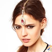 Fashion exaggerated pink gem pendant hair hairpin hair accessories CF051