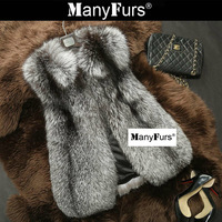 ManyFurs-Pure natural Fox fur women vest whole piece slim warm furs winter vests brand free shipping by EMS