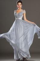 2014 New Arrival Degisn Zuhair Murad Evening Dresses Sexy Drop V-Neck Appliques Cap Sleeve A-Line Long Chiffon Prom Party Gowns