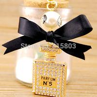 NO MOQ FREE SHIPPING Full Rhinestones Square Perfume Bottle Elegant Pearl and Bowknot Bag Key Chain Key Ring Women Novelty Gifts