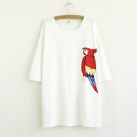 New 2014 Summer Fashion Casual Red Parrot Printing Tops For Women T-Shirts Free Shipping 0101
