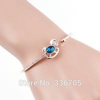 Fashion Style Free Shipping Woman's Wooden Horsse Pattern Metallic With Diamond Bracelet(10pcs)25403#