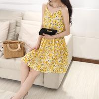 2014 new summer chiffon dress print knee-length sleeveless V-neck Empire fashion tank dress