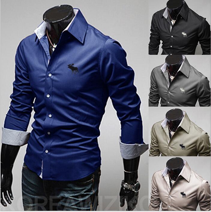 Hot Sale new 2014 men shirt casual slim fit long sleeve brand collar shirts men's social camisa masculina 5 color M-XXL(China (Mainland))