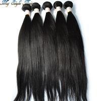 Mixed length 4 bundles or 5pcs lot  Unprocessed human virgin Mongolian hair straight, Natural,#1b,#2,#3,#4 human hair extensions