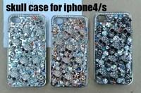 skull case for iPhone 4S, Skull Diamond Case, Hard Back Cover Case , 1pcs/lot free shipping