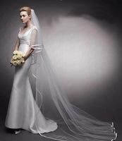 3M Bridal Veil Simple Tull with satin edge Long Bridal Veil Wedding dress Accessories Veils 3m 0716