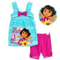 2014 New Kids Clothes Sets Summer Cute DORA Vest Dress Legging Set Children Cartoon Clothes w200054
