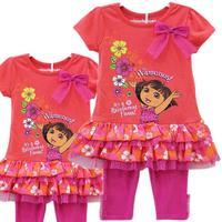 2014 New Girl Dora Princess Top dresses Summer Tutu Dress Outfit Costume dresses  Y201