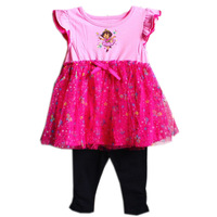 Free Shipping Fashion Summer Dora Causal Dresses Sleeveless 100% Cotton Child Cartoon Girls Dress 2-5T Kids Clothes Y20