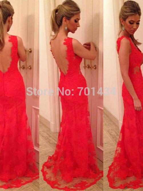 Sexy sirena v- cuello de encaje rojo apliques de encaje sin mangas sin respaldo la longitud del piso vestidodenoche 2014
