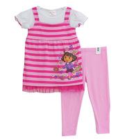 2014 New Girls Clothing Sets Summer Cute DORA Pink & Purple Stripe Pants Set Kids Clothes w200053