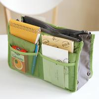 Mini Order is $10(Mix Order) Free Shipping! New Handbag Organizer, 10 Color Insert 12 Pockets Zipper Travel Bag