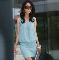 2015 Summer Women's Mini Dress Crew Neck Chiffon Sleeveless Causal Tunic Sundress Sizes S M L XL
