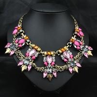 Wholesale New Hottest 2014 Jewelry Fashion Vintage Women Luxury Collars Pink Jewelry Pendant Choker Statement Necklace