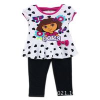 New Arrive Girls Clothing Sets Lovely White Heart Butterfly DORA T-shirts Legging Suits Clothes W200060