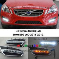 White LED DRL Driving Daytime Running Day time Fog Lamp Light Amber Turn Signal For Volvo S60 V60 2011 2012