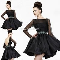 High Quality Sheer Black Beading Long Sleeves Taffeta Short Prom Dress Women Free Shipping WH375