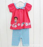 2014 New Free Shipping Summer Baby wear Girls Dora dress 100% Cotton Children  clothing sets Y20