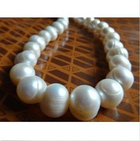11-13MM NATURAL SOUTH SEA GENUINE WHITE BAROQUE PEARL NECKLACE 14k20inch