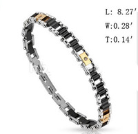 Stainless Steel Roller Chain Bracelet with Black Center and Single Gemmed Rose Gold IP Squares