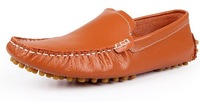 Size 38-44 genuine leather Mens 2014 casual brand slip-on sneakers shoes flats 3 colors white black orange KR732