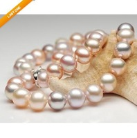 "20""9-10MM SOUTH SEA WHITE GOLD PINK PEARL NECKLACE 14K"