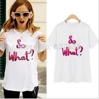 Fashion Women T-shirt New 2014 cotton T shirt Letter Shirt Spring Summer Autumn Tee Tops For   Women Clothing roupas femininas