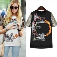 2014 NEW CHIC! Hot Sale Free Shipping Sexy Women Colorful Birds Chiffon shirt Batwing Loose Blouse Casual Tops