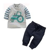 CCS142 Free shipping 2014 new kids 2pcs clothing suit car t-shirt+long pant children clothes boys 2pcs sets retail