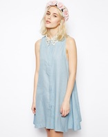 2014 summer fashion cute girl lace turn-down collar denim sundress/LOOKBOOK lovely girl base