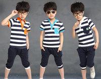 New 2014 boys girl clothing set, striped  T shirt+short pant, cotton, orange/blue, Wu Children Clothing Free Shipping