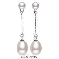 High Class Natural Double Pearls Earrings Sterling Silver 925 Dangle Earring Luxury Pearl Fashion Fine Jewelry For Women