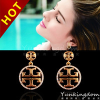2014 new Free shipping 18K Gold plated Filled  High-end fashion front Ethnic retro earrings for woman Jewelry  Good gift  PM0074