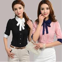Formal! 2014 Summer Women's Plus Size XXL Black\White\Blue\Pink Half Sleeve shirt Turn-down Collar Slim OL Hot tops New Arrival.