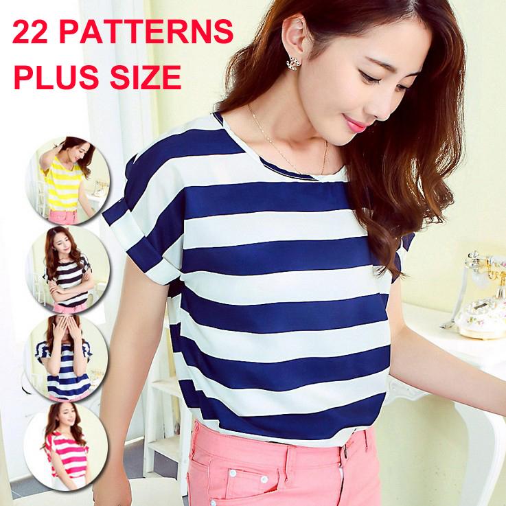 women blouses printed 22 patterns loose style chiffon short sleeve shirt summer women clothing fashion tops tee Blusa Camisa(China (Mainland))