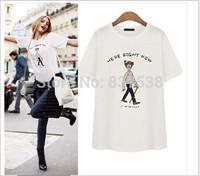 New Women Cartoon Loose T Shirt Ladies Girls Print shirts O-Neck Short- Sleeve 2014 Summer Fashion Cotton White/Gray T-Shirts