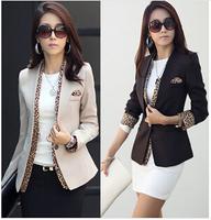 2014 girls leopard blazer women's spring summer coat fashion jacket one button leopard decorated jacket