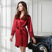new 2014 silk quality women robe / embroidery classic women sleepwear long women nightgown pajamas Free shipping