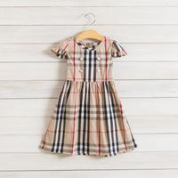 2014 New,girls plaid dress,children summer cotton dress,button,sashes,2-8 yrs,5 pcs / lot,wholesale kids clothing,1382