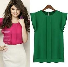 mulheres blusas chiffon blusa da senhora verão vestuário/camisa s-xl 2014 venda nova moda ruffle manga curta 4 cores ol blusa tops(China (Mainland))