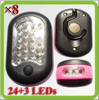 Magnetic 8*trabaja lampara LED mini campamento LED 3*AA Bateria por emergencia