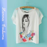 New arrival summer character print t shirt 2014 fashion women loose t-shirt short sleeve o-neck t shirts woman clothing