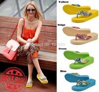 Summer wedges platform women  fashion platform slippers flip flops drag the folder bohemia beach slippers