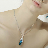 Free shipping more than $15+gift fashion glass shoes crystal necklace austria jewelry sweet female long chain necklace alloy new