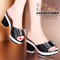 Platform thick heel shoes gauze rhinestone bow open toe sandals slippers