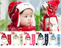 Free Shipping 1set Child winter thermal Children Hat Scarf Sets,snowflake christmas hat plus velvet knitted scarf hat kids Cap