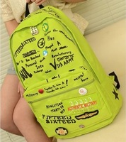 Medal letter print neon women's backpack school travel bag