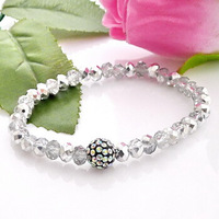 Free Shipping12pcs/lot Crystal Bracelet 6mm rondelle glass beads bracelet with 10mm shamballa ball Crystal silver semi-K B160063